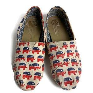 Toms Republican elephant logo shoes